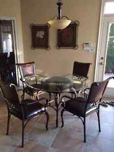 Glass and Wrought Iron Dining Table