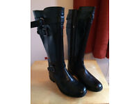 Ladies Black Boots - size 6 adjustable calf - as new