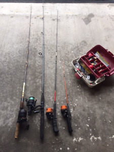 4 x Fishing poles + tackle box with hooks etc