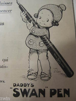 vintage Swan Fountain Pen Ad  French old writing instrument advertisement 1919