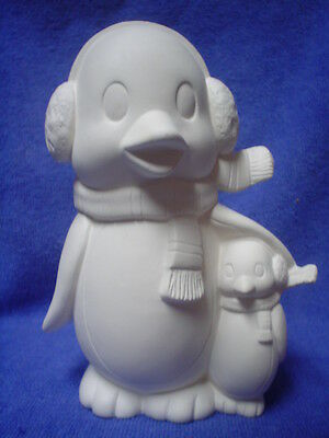 "C330 - Ceramic Bisque Bird: 5 1/2"" Penguin & Baby with Scarves- Ready to Paint"