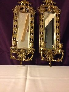 PAIR Antique 'Dolphin' Brass Mirrored Wall Sconces - 2' Tall