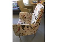 Stylish, comfortable Habitat armchair. Removable cover. Removable legs. Small matching cushion