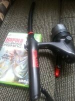 Rapala Pro Bass Fishing Rod controller and game Xbox 360