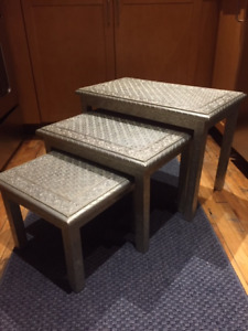 Hammered Metal Nesting Tables - $200