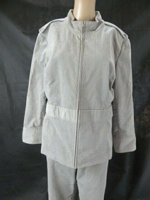 St. John Sport Gray Corduroy Pant Suit Size 16