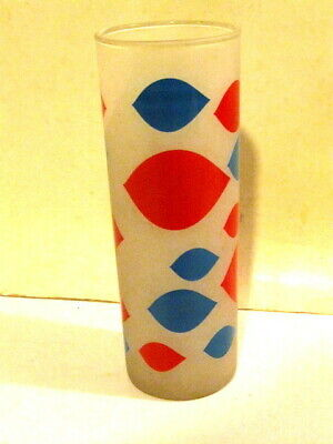 Vintage 1970s Frosted Glass Tumbler Bold Color Design Free Ship