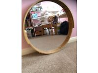 Circular mirror with wood surround