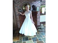 Calf length Romantic ivory stylish dress size 12, lace top, swing skirt