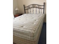 Double divan bed (that splits) with orthopaedic double mattress and wrought iron style headboard
