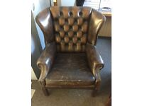 Leather Wingbacked fireside chairs - 2 but will sell separately