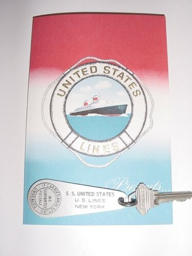 SS UNITED STATES LINES  Stateroom Key Tag...A-122  /  Top Condition