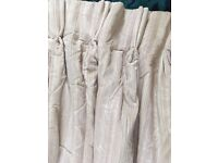 Heavy silk curtains, lined and interlined, pinch pleat, pink/cream, 220cm length