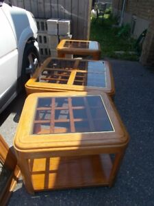 Wooden and glass coffee table with 2 end tables
