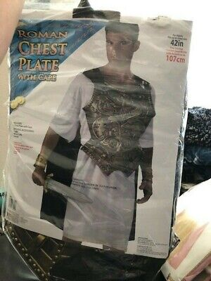 Roman Chest Plate With Cape Adult Costume New!!!](Gold Chestplate)