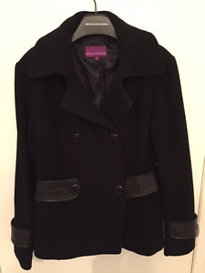 Bod & Christensen Women Black Wool Jacket Coat Size L