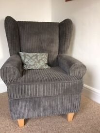 Armchair, High back winged Queen Anne Design, Grey Jumbo Cord