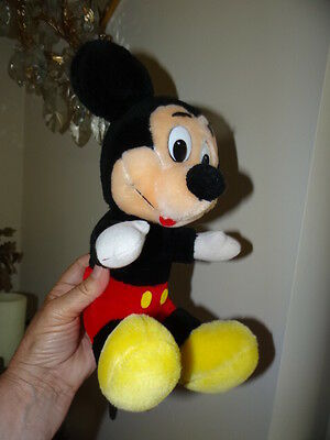 "Vintage Disneyland Walt Disney World MICKEY MOUSE 11"" as sitting  STUFFED PLUSH"