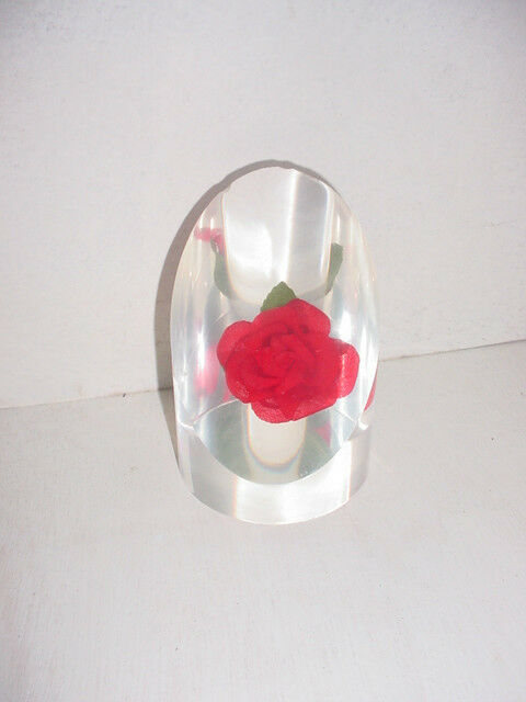 Beautiful Red Rose Lucite Paperweight w Unique Flat Front Cylinder Shape TCBC-81