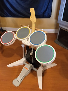 Wii Rock Band Drums and Guitar