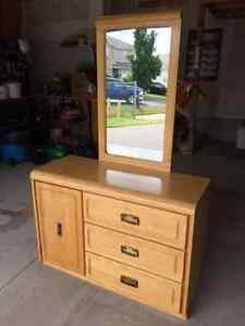 Real hardwood dresser with mirror