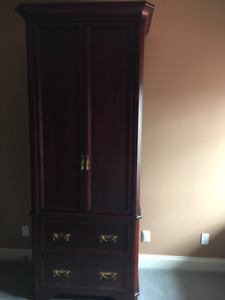 custom wardrobe in solid wood, dark stain
