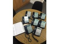 NEC Complete Office Telephone System including 8 Handsets, 2 Exchanges, and Telephone User Manual