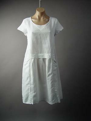 White Cotton Blend Lagenlook Pinafore Parachute Peasant Sack 230 mv Dress S M L](Peasant Dress)