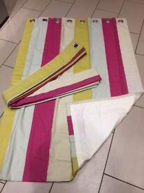 eyelet headed, handmade, sill length striped, interlined curtains