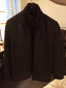 Lined Dark Brown Andrew Marc Fine Leather Winter Coat