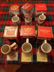 Budweiser Holiday Steins:  6 For $75!  Great Gift For Beer Fans!