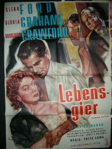 """HUMAN DESIRE / Lebensgier - german Film Noir Poster A1 / 22 x 32"""" Fritz Lang"""