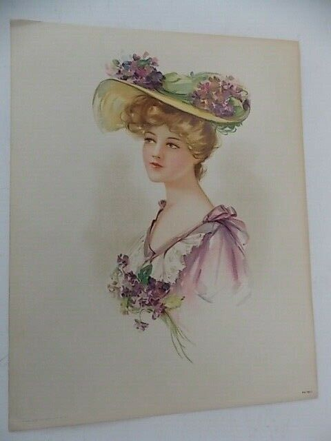 Original Victorian Lithograph Lady With Flowered Hat 98 B Copyright 1908 - $15.95