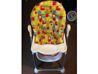 Mothercare high chair with net basket for storage