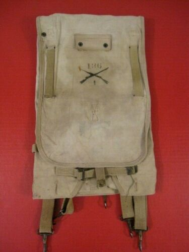WWI Era US Army M1910 Haversack Pack - Khaki Color - Infantry Unit Markings NICE