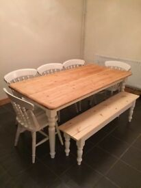 Solid Pine Farmhouse and Table + Bench Set- Freshly Painted and Waxed