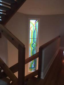Beautiful large stained glass window - 3 panels