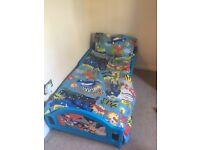 Blue Toddler Bed hero design, boys room, Mattress & bedding incldued.
