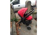 GRACO pram in excellent condition. Chilli red. From birth to approx. 3 years. Rain cover included