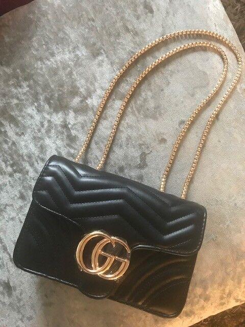 Womens GG Marmont Handbag Shoulder Bag Designer Inspired Bags Black Gold UK 6ffc125cde33d