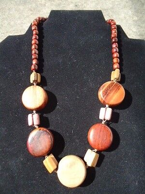 """New Hand Made Exotic Woods Wooden Bead Necklace 20"""""""