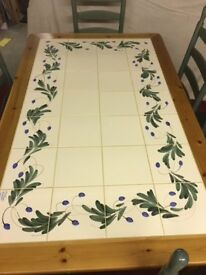 Tiled pine table and 6 No chairs