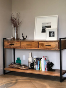 Two like-new modern console tables