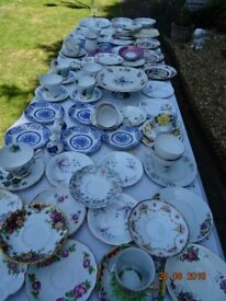 LARGE JOBLOT OF ASSSORTED VINTAGE CHINA=WEDDINGS.CAFE.B&B.TEASHOP