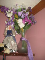 2 - 12 inch vases full of shades of purple and white flowers