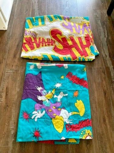 Vintage Disney Darkwing Duck Bed Sheets Twin Size Flat And Fitted RARE