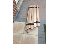 Double bed slats made of thick hardwood