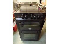 Black Zanussi double oven, ceramic hob