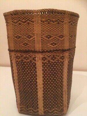SARAWAK DYAK BORNEO MALAYSIA DYAK vintage handwoven basket 1970s rotan *VGC*