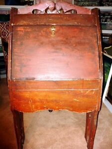 antique PINE BUCKET BENCH distressed russet SHABBY farm COUNTRY Cambridge Kitchener Area image 9